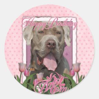 Happy Birthday Mom - Mastiff - Neopolitan - Snoop Classic Round Sticker
