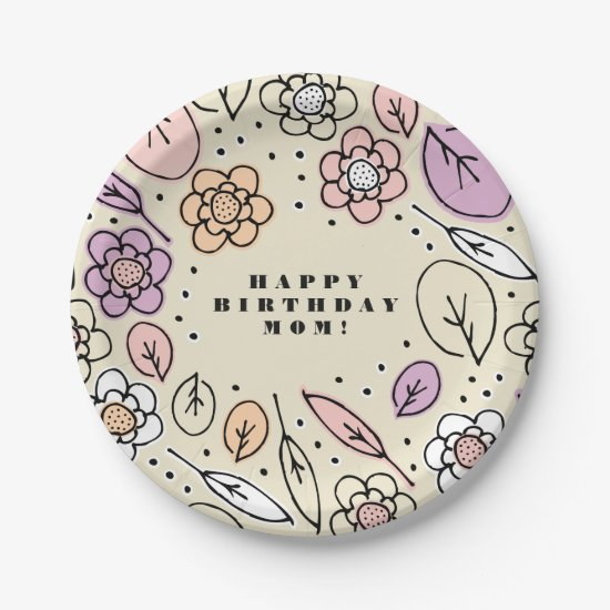 Happy Birthday Mom Pastel Floral Leaves & Branches Paper Plate