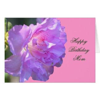 Happy Birthday Mom Pink Azalea Flower Photo Card