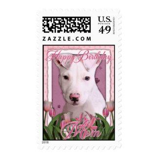 Happy Birthday Mom - Pitbull - Petey Postage Stamps