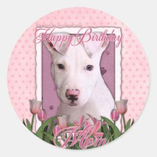 Happy Birthday Mom - Pitbull Puppy - Petey Classic Round Sticker