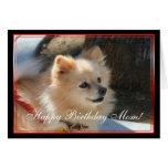 Happy Birthday Mom Pomeranian greeting card