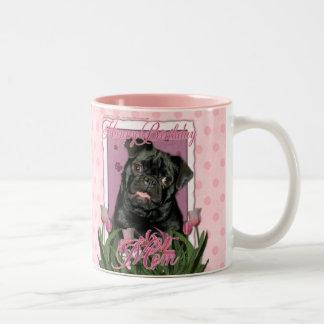 Happy Birthday Mom - Pug - Ruffy Two-Tone Coffee Mug