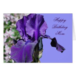 Happy Birthday Mom Purple Iris Flower Photo Card