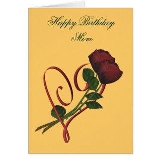 Happy Birthday Mom Red Roses Heart Card