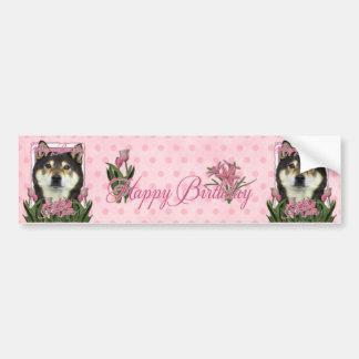 Happy Birthday Mom - Shiba Inus - Yasha Bumper Sticker