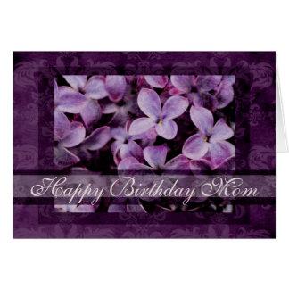 Happy Birthday Mom Textured Lilacs Card