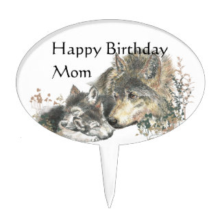 Happy Birthday Mom Watercolor Wolf & Cubs Animal Cake Topper