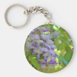 Happy Birthday Mom Wisteria Flower Keychain