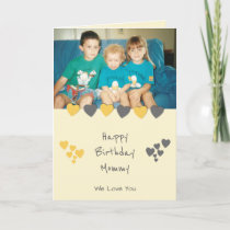 Happy Birthday Mommy orange gray photo Card
