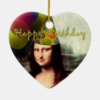 Happy Birthday Mona Lisa Ceramic Ornament
