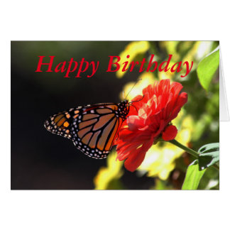 Happy Birthday Monarch Butterfly on Red Zinnia Card