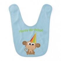 Happy Birthday Monkey Baby Bib