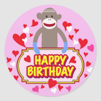 Happy Birthday Monkey. Classic Round Sticker