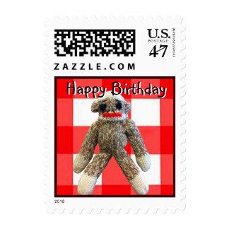 Happy Birthday Monkey on red Check Postage