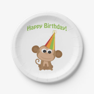 Happy Birthday Monkey Paper Plate