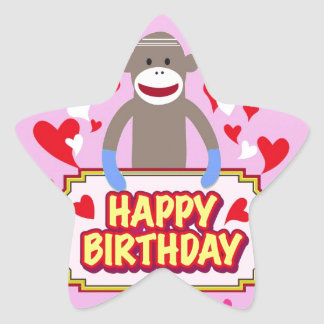 Happy Birthday Monkey. Star Sticker