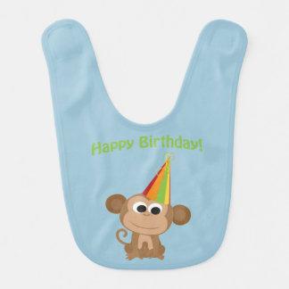 Happy Birthday Monkey Baby Bibs