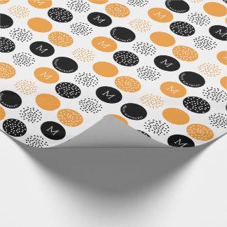 Happy Birthday Monogram Circles Orange Dots Wrap Wrapping Paper