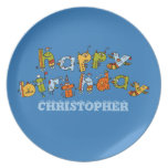 Happy Birthday Monsters Child's Plate