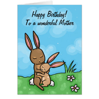 Happy Birthday Mother Bunny cuddle Greeting Cards