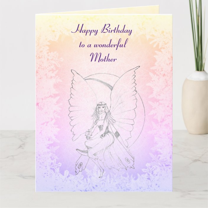 Marvelous Happy Birthday Mother Fairy Design Card Zazzle Com Personalised Birthday Cards Paralily Jamesorg