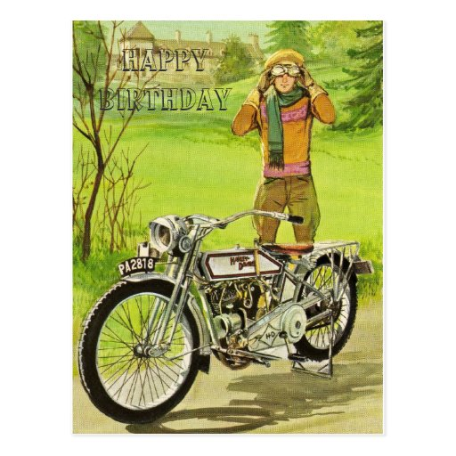 HAPPY BIRTHDAY MOTORCYCLE POSTCARDS