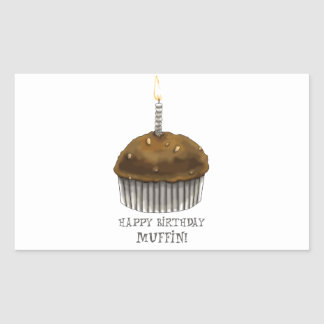 Happy Birthday Muffin Rectangle Stickers