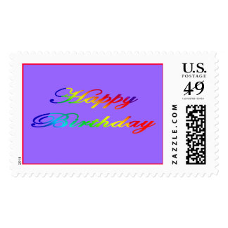Happy Birthday Multi Bright Colors Stamp