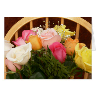 Happy Birthday-Multi Colored Roses Card