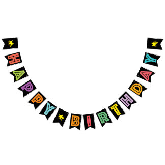 HAPPY BIRTHDAY ☆ MULTICOLORED ON BLACK BACKGROUND BUNTING FLAGS