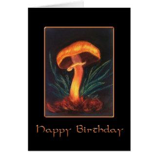 Happy Birthday Mushroom on Black Card
