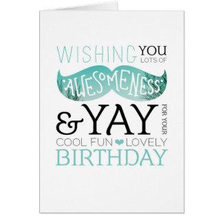 Happy birthday mustache fun typography card