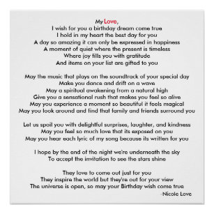 Happy Birthday With Poem Art Wall Decor Zazzle