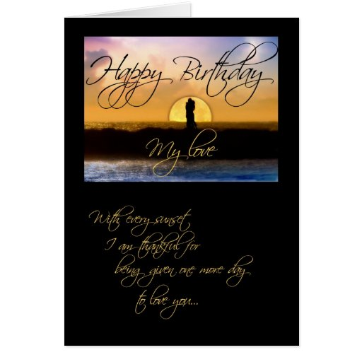 Happy Birthday My Love Sunset Couple Greeting Cards