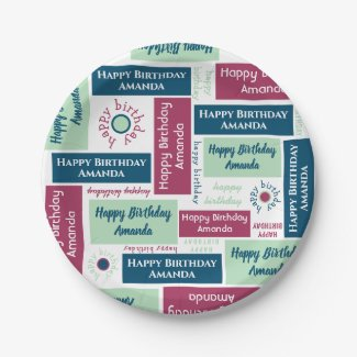 Happy Birthday Name Blue Mint Green Burgundy Party Paper Plate