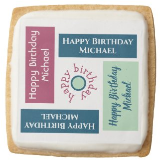 Happy Birthday Name Blue Mint Green Burgundy Square Shortbread Cookie