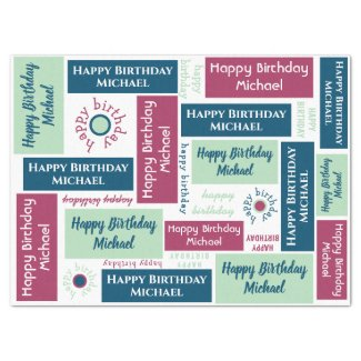 Happy Birthday Name Blue Mint Green Burgundy Tissue Paper