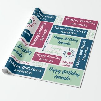 Happy Birthday Name Blue Mint Green Dark Pink Wrapping Paper