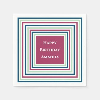 Happy Birthday Name Burgundy Blue Mint Green Party Napkin