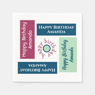 Happy Birthday Name Colorful Geometric Party Napkin