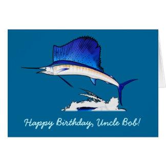 Happy Birthday Name Customizable with Sailfish Card