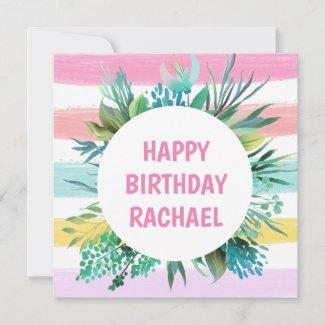 Happy Birthday/Name/Pastel Stripes/Leaf/Birthday Holiday Card