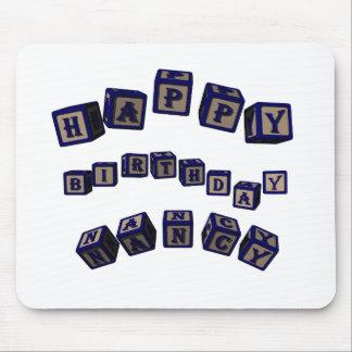 Happy Birthday Nancy toy blocks in blue. Greanancy Mouse Pad