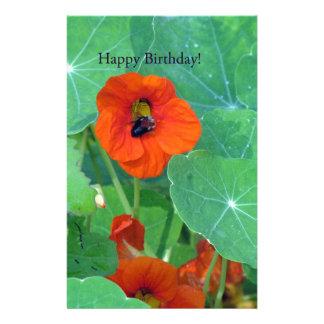 Happy Birthday Nasturtium Bee Custom Stationery