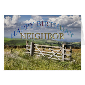 Happy Birthday Neighbor, landscape with a gate Card