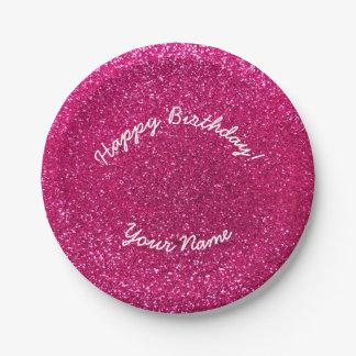 Happy Birthday neon hot pink glitter Paper Plate