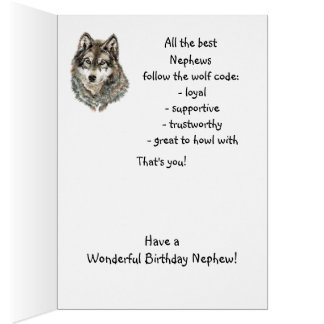 Happy Birthday Nephew  Humor Wolf, Wolves Greeting Card