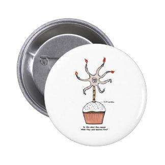 Happy Birthday Neuron Cupcake Pinback Button
