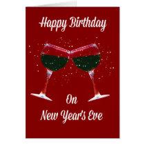 Happy Birthday New Year's Eve Card